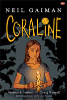 Coraline, the graphic novel  cover art (Link goes to Powells)