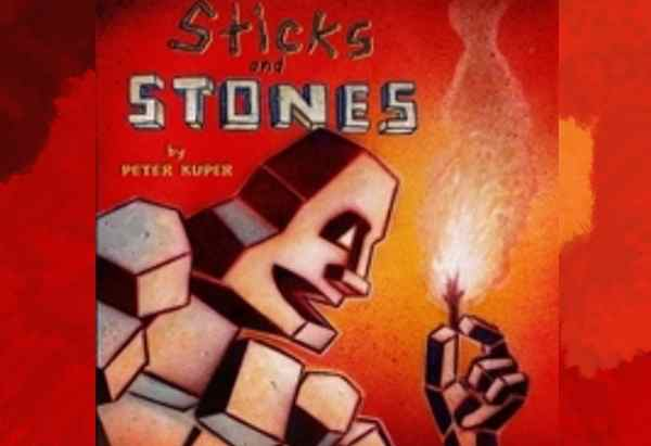 Sticks and Stones by Peter Kuper is about the rise and fall of powerful empires and the dangers of power.