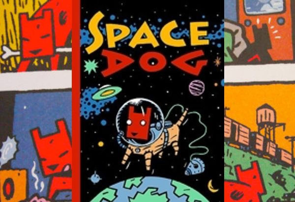 Spacedog by Hendrik Dorgathen is a wordless graphic novel about a dog trying to find its place in the world. This includes a brief stint as as a space dog.