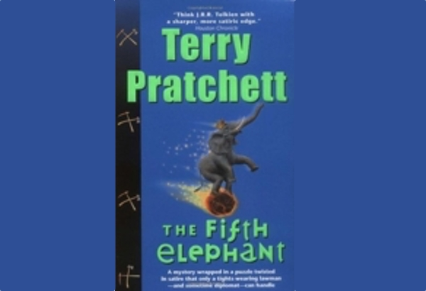 The Fifth Elephant by Terry Pratchett:  Vimes due to his marriage to Lady Sybil, has to don the tights and attend the upcoming coronation of the Low King.