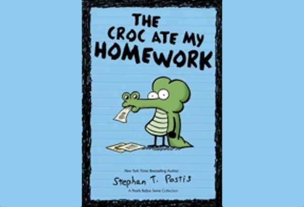 The Croc Ate My Homework: A Pearls Before Swine Collection by Stephan Pastis is collection of comics from the <i>Pearls Before Swine</i> strip chosen with younger readers in mind, apparently.
