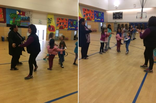Two images of the Girl Scouts learning a new dance