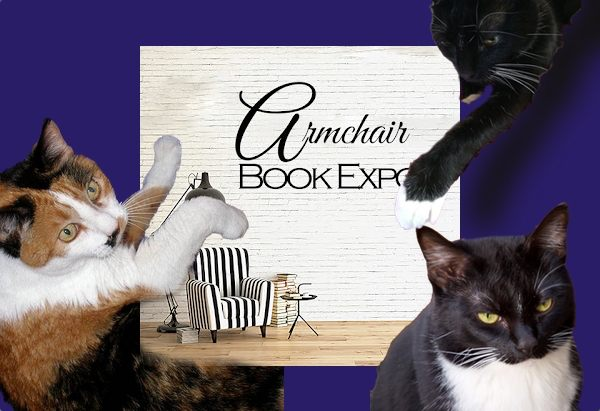 Armchair BEA logo with my three cats