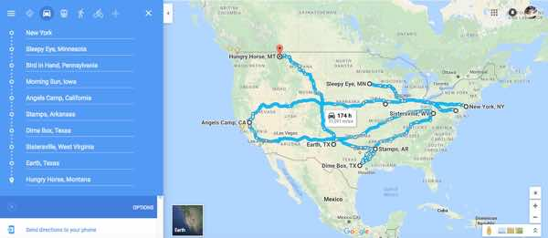The itinerary through the cornfield, mapped onto Google maps