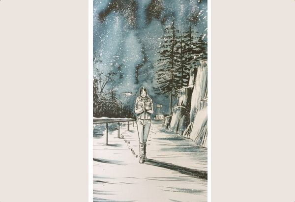 Vertical panel showing a winter night scene along a curving road with a woman walking along the edge.