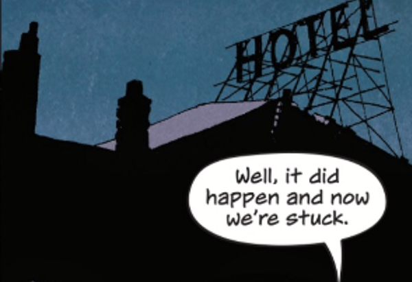 Detail of the panel showing the hotel sign looming over the family as they realized they're trapped.