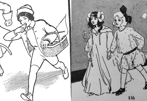 Side by side comparisons of Tip and Ozma walking, both illustrated by John R. Neill