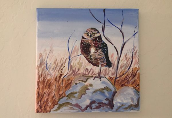 Burrowing owl painting