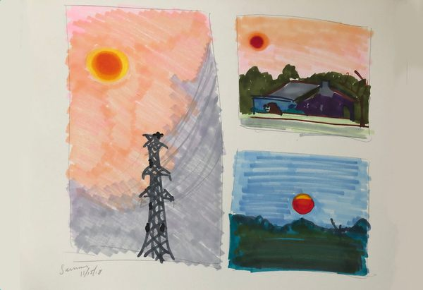 Drawings of the smoky sunset