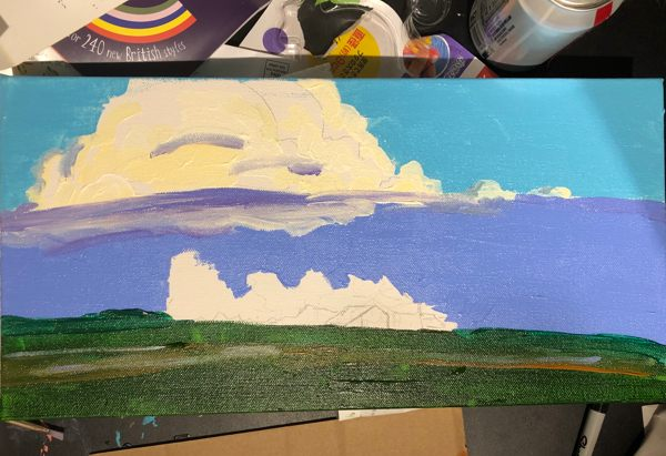 Started painting of a storm cloud over a sunflower farm near UC Davis.