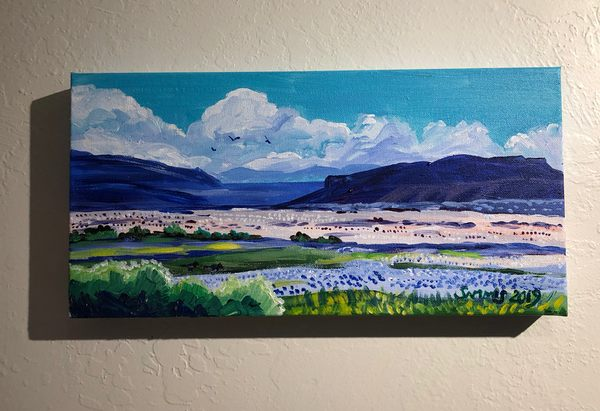 Finished painting of the Bonneville Salt Flats in western Utah