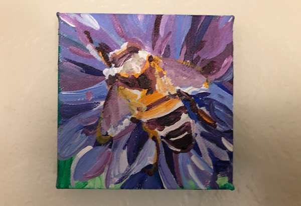 Nature 3 painting: a bee on a cornflower. Painted on 4x4 inch canvas