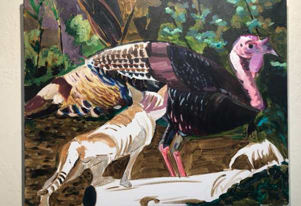 WIP in acrylic showing a turkey and a young cat.