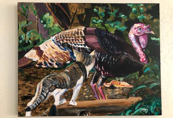 Painting of a turkey and cat both staring at a plate of kibble