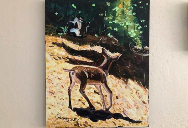 Completed painting showing a fawn staring at a cat