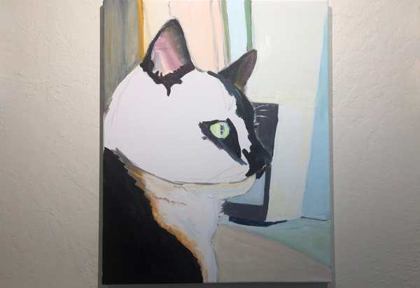 WIP painting showing a tuxedo cat in profile