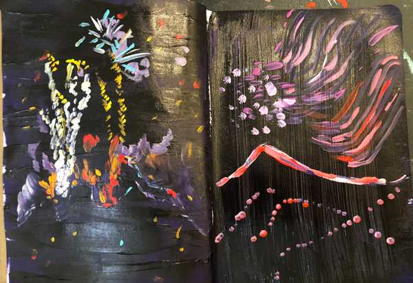 Two page spread showing fireworks paintinsg. Acrylic on paper.