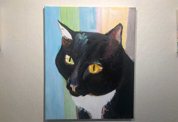 WIP of a Siamese tuxedo cat painted with acrylics