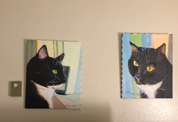 Two 16x20 acrylic paintings of tuxedo cats hanging over a flat screen television