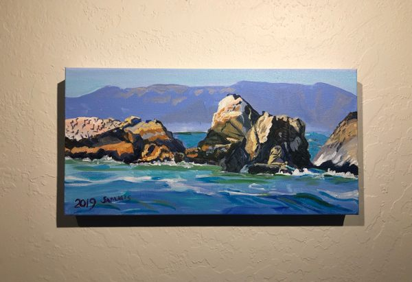 Acrylic painting of Rockaway Beach, Pacifica, California.