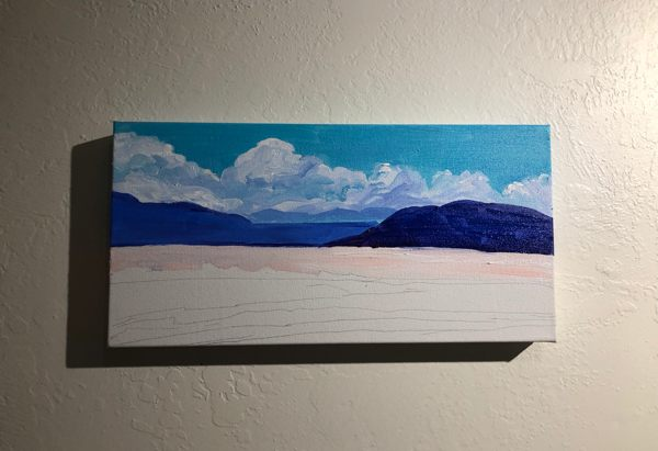 Acrylic painting of the salt flats of western Utah (WIP)