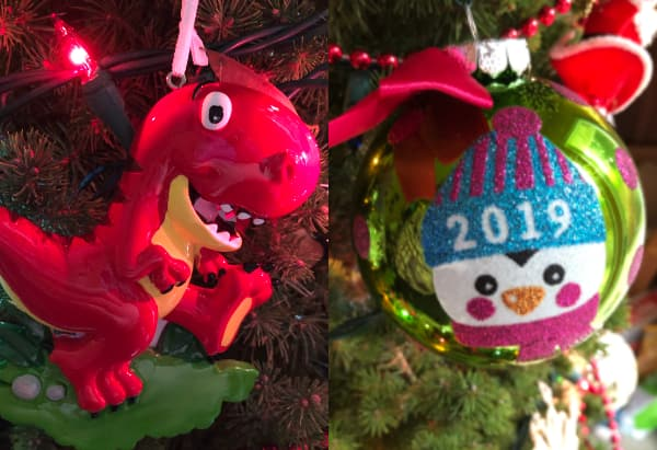 A T-rex and penguin ornament