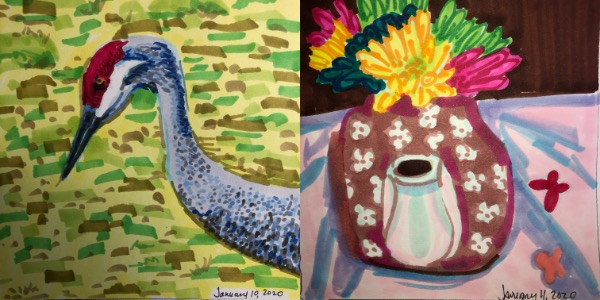 Left: A sandhill crane in profile from Jan 10. Right: A pink and white teapot used a vase for pink, blue, yellow, and green flowers from Jan 11