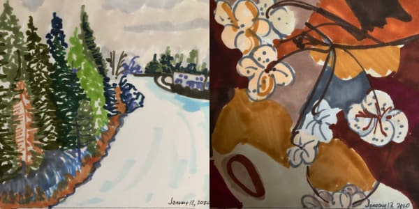 Left: View of snow from the California Zephyr Jan 12. Right: Dead helebores from Jan 13. Both drawn with Copic Markers