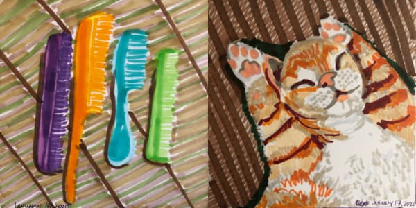 Left: Four combs: a purple one, an orange one, a turquoise one, and a green one against a brown patterned surface from Jan 16. Right: A ginger and white kitten asleep on its back, paws over its head from Jan 17. Both drawn with Copic Markers.