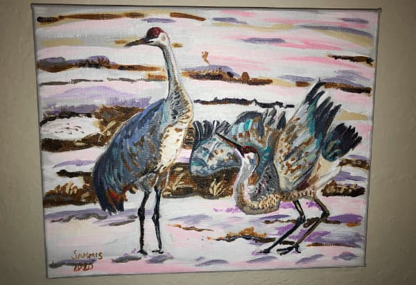 Sandhill crane courtship, finished