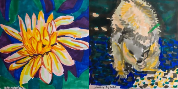 Left: Wildflower from Jan 20. Right: Squirrel eating seeds from Jan 21. Both drawn with Copic Markers