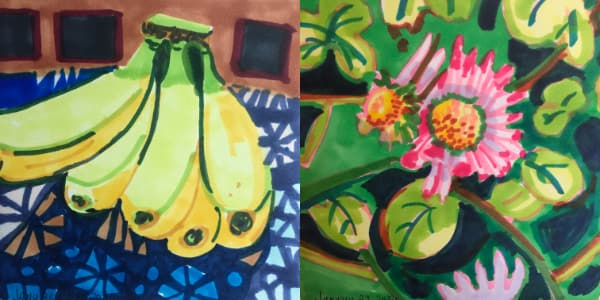 Left: Bunch of bananas from Jan 22. Right: Shasta daisy and clover from Jan 23. Both drawn with Copic Markers.
