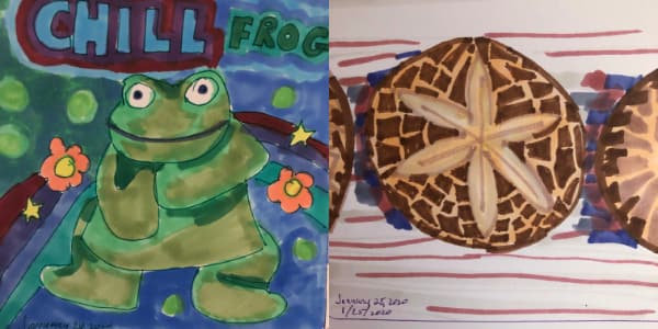 Left: Chill frog from Jan 24. Right: Shiitake mushroom from Jan 25. Both drawn with Copic Markers.