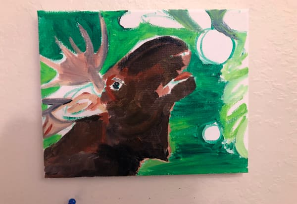 Moose reaching for an apple. WIP. 2 hours of work.