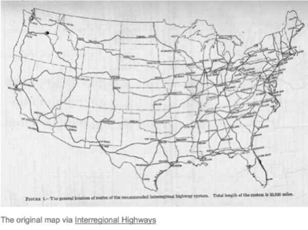 Map of the original proposed Interstate system