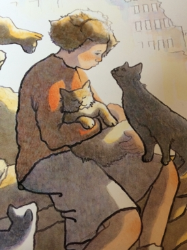 Girl holding a cat, illustration from the book