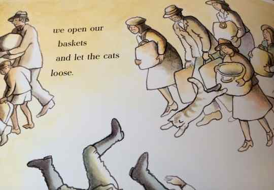 Letting the cats go in the station, illustration from the book