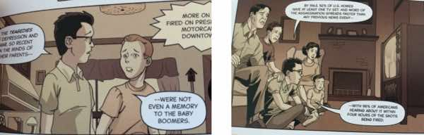 Two panels describe exactly what's off about aiming a graphic novel about the assassination at teenagers.