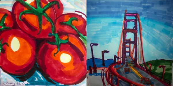 Left: Vine tomatoes from Jan 26. Right: Golden Gate Bridge from Jan 27. Both drawn with Copic Markers