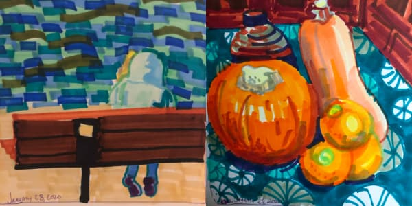 Left: My daughter on a bench by Lake Hemet from Jan 28. Right: Orange food from Jan 29. Both drawn with Copic Markers.