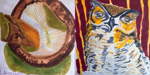 Left: Another shiitake mushroom from Feb 01. Right: A sleeping great horned owl from Feb 02. Both drawn with Copic Markers.