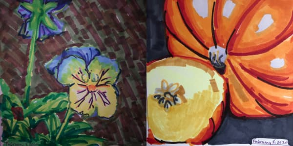Left: Purple and yellow pansies from Feb 03. Right: Pie pumpkins from Feb 04. Both drawn with Copic Markers