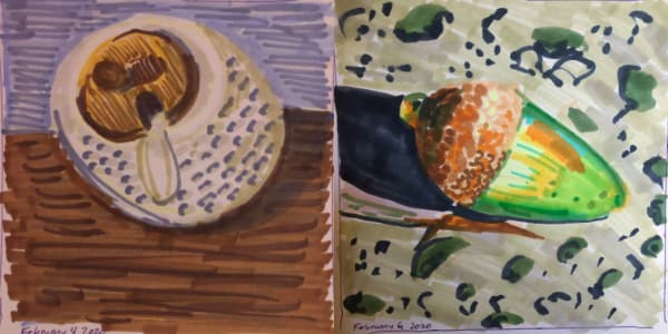 Left: Chili sauce pot from Feb 05. Right: A green acorn from Feb 06. Both drawn with Copic Markers.