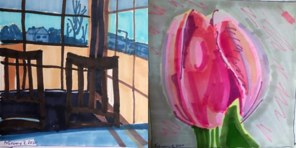 Left: A table inside a Japanese restaurant from Feb 07. Right: A pink tulip from Feb 08. Both drawn with Copic Markers.