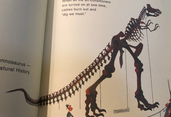 outdated t-rex skeleton