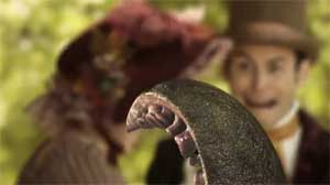 A still from the book trailer for Sense and Sensibility and Seamonsters by Jane Austen and Ben H. Winters